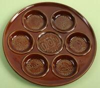 Vintage Passover Plate, Brown Ceramic Seder Pesach Tray Pesah Judaica Heirloom