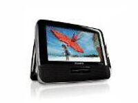 "Philips PD7016/37 Black Dual 7"" WideScreen Portable DVD Players Stereo Speaker"