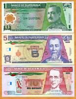 Guatemala, SET, 1;5;10 Quetzales, 2008-2012, P-NEW, UNC