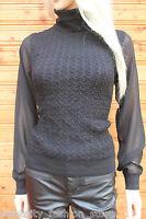 Karen Millen Black Sporty Cable Knit Smart Polo Sweater Jumper Dress Top 8 - 14