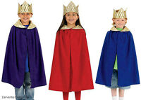 Kids Royal King Queen Boys Girls Medieval Cape Crown Costume Outfit New Age 4-9