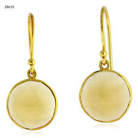 9.5ct Citrine 18k Solid Yellow Gold Designer Hook Earrings Women's Gift Jewelry