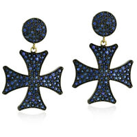 14k Gold Pave Sapphire 925 Sterling Silver Cross Dangle Earrings Fashion Jewelry