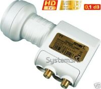 NEW 0.1dB TITANIUM TWIN LNB TT Gold Coated F Connectors