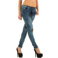 Damen Jeans Hose Destroyed Hüftjeans Knitter Röhrenjeans Skinny Röhre Blau
