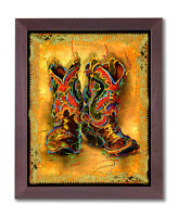 Western Cowboy Boots Rodeo Contemporary Wall Picture Cherry Framed Art Print