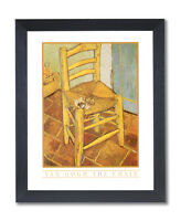 Vincent Van Gogh Chair Pipe Flowers Wall Picture Black Framed Art Print