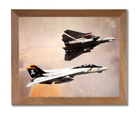 Two F-14 Tomcats Military Jet Aircraft Wall Picture Honey Framed Art Print
