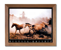 Wild Mustang Horse Roundup Western Cowboy Wall Picture Honey Framed Art Print