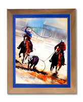 Cowboy Team Roping Western Rodeo Horse Wall Picture Honey Framed Art Print