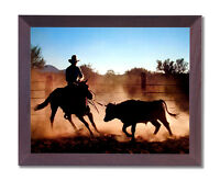 Cowboy On Cutting Horse Chasing Steer Wall Picture Cherry Framed Art Print