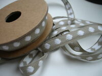 Natural Linen  Sewing Tape / Ribbon - Embroidery White Dots  1 Yard