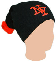 Neon Orange NY Pom Pom Slouch Beanie Knitted Adults Ladies Girls Hat Cap Ribbed