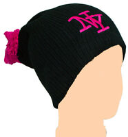Neon Pink NY Pom Pom Slouch Beanie Knitted Adults Ladies Girls Hat Cap Ribbed
