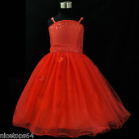 Reds Communion Christening Wedding Party Outfit Flower Girls Dresses SIZE 2T-3T