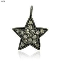 Pave Diamond 925 Sterling Silver Star Charm Pendant Handmade Jewelry