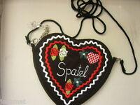 Herzltasche Trachten - /Dirndl-Tasche braun/rot NEU