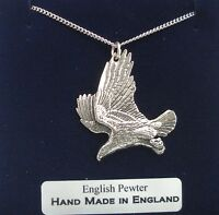 Eagle Necklace in Fine English Pewter, Hand Made and Gift Boxed (A)