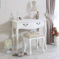 white wooden french style dressing table and padded stool home bedroom furniture