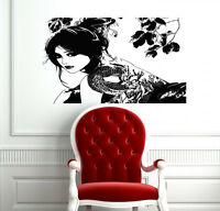 WALL VINYL DECAL STICKER SEXY JAPANESE GIRL WITH TATTOO DRAGON ON BACK CO791