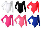 NEW LADIES LONG SLEEVE JERSEY WOMENS LEOTARD BODYSUIT SIZE 6-12