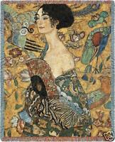 70x54 KLIMT Lady With Fan Asian Tapestry Throw Blanket