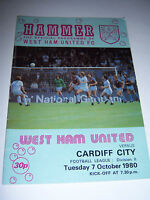 WEST HAM UNITED v CARDIFF CITY 1980/81 - DIVISION 2 - FOOTBALL PROGRAMME
