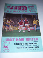 WEST HAM UNITED v PRESTON 1980/81 - DIVISION 2 - FOOTBALL PROGRAMME