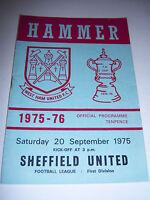 WEST HAM UNITED v SHEFFIELD UNITED 1975/76 - DIVISION 1 - FOOTBALL PROGRAMME
