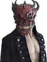 DEVIL SKULL MASK LATEX MENS ADULT HALLOWEEN FANCY DRESS DELUXE DEVIL HORNS NEW