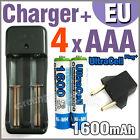 4 x AAA 1600mAh Ni-MH Rechargeable battery Ultra Blue + AA 18650 123A charger EU