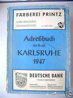 Adressbuch 1947 Stadt  Karlsruhe