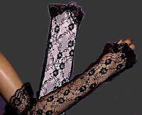gloves new! BLaCK TuLLE~LACE-NeT LoNG-FiNGERLESS Goth