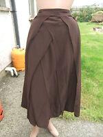 Silk Chocolate Brown Lagenlook tiered skirt Monsoon  sz 12