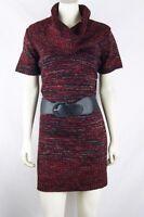 Elementz NEW Red Black Acrylic Cowl Neck Sweater Tunic Top Plus Size 1X 14W 16W