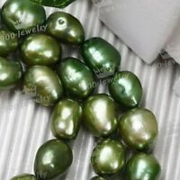 8x9MM CULTURED FRESHWATER OLIVE GREEN PEARL LOOSE BEADS FOR JEWELLERY CRAFT DIY
