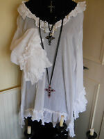 OS PIRATE WENCH WENCHY TOP POET SHIRT VICTORIAN GOTHIC STEAMPUNK WHITE COTTON