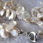 "18"" 2Row 9-15mm White Reborn Keshi Pearl Necklace AC"