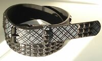 GOTH PUNK BLACK STUD STUDDED SNAP ON GREY BELT M 34