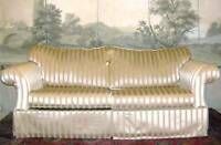ENGLISH HOLLYWOOD REGENCY SCROLL ARM STYLE GLAM WIDE STRIPE SILKY COUCH SOFA BED
