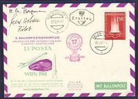 25178) Öster Ballonpost SBF 5 LUPOSTA Wien 21.5.61 mit 2 Signaturen