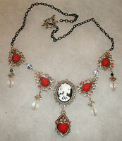 Gothic Steampunk Death of Love Necklace with skeletal Lady Cameo,red heart, ooak