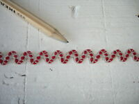 New Natural  Linen Ric Rac  Sewing Tape / Ribbon - Red Embroidered Dots 1 Yard