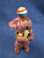 Wind Up Cloth Covered Tin Dog With Spinning Ball Japan