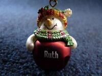 Cute GANZ Personalized Name SNOWMAN Jingle Bell Ornament R thru Z