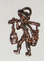 VINTAGE ANTIQUE STERLING 925 SOLID SILVER CHINESE MAN PENDANT CHARM QING