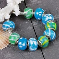 10P Blue Lampwork Glass European Bead Fit Snake Charms Bracelet New