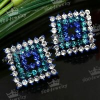 1 PAIR BLUE CLEAR RHOMBUS RHINESTONE CRYSTAL EAR STUD EARRINGS FASHION LADY