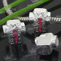 5P Pink Enamel Red Crystal Shirt Silver Plated European Beads F Charm 15x11mm