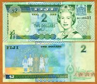 FIJI, 2 dollars, (2002) P-104, QEII, UNC